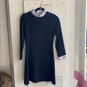 Sandro blue collared dress with jewel buttons